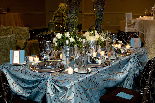 Forget about the white tablecloths welcome colors for wedding receptions
