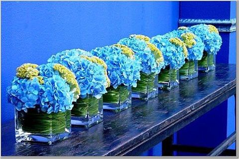 blue wedding center pices
