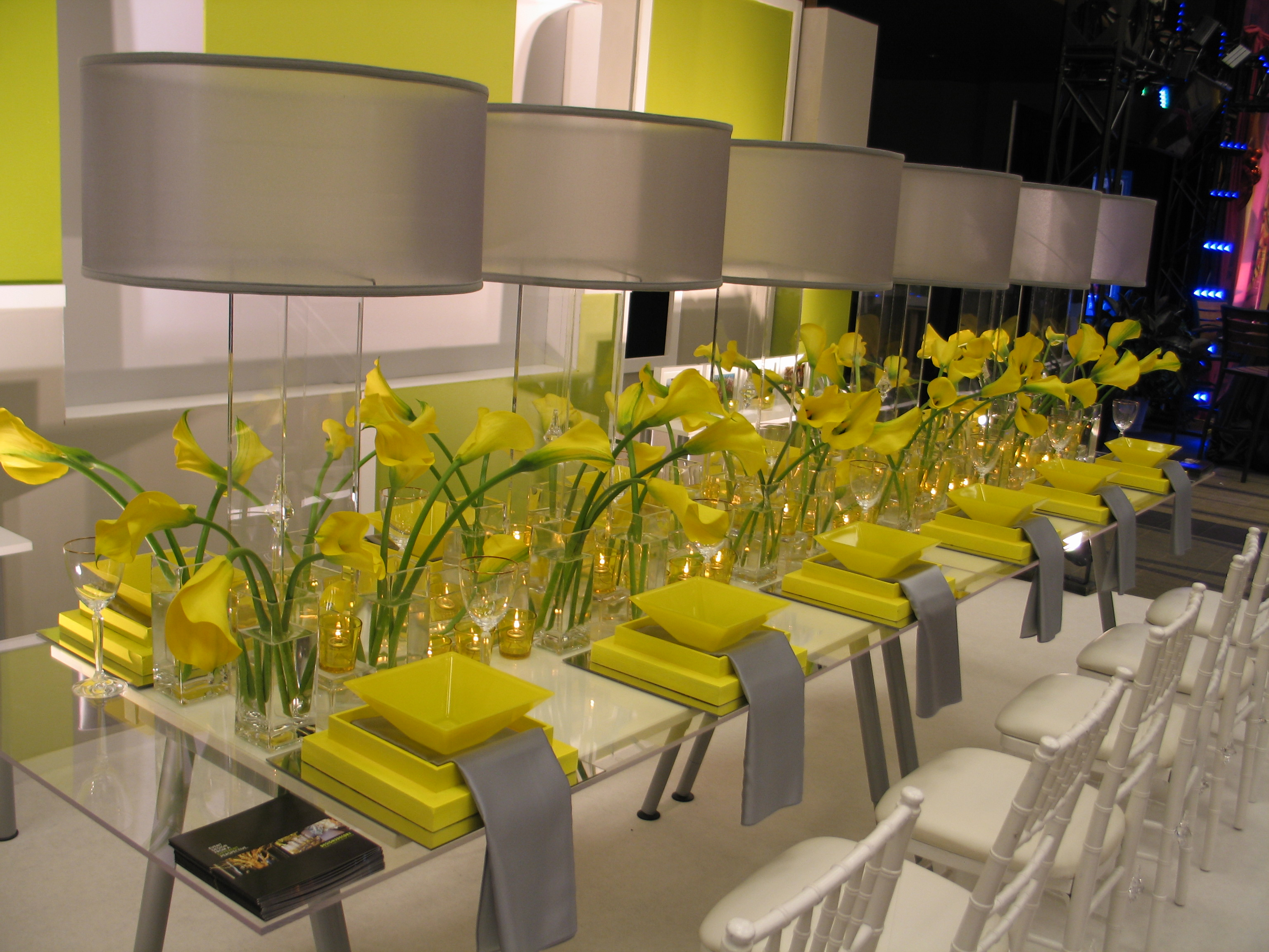 What about a yellow and grey wedding weddings on the for Modern table centerpieces