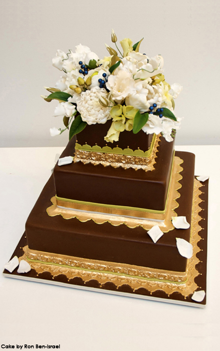 A brown and gold wedding decoration