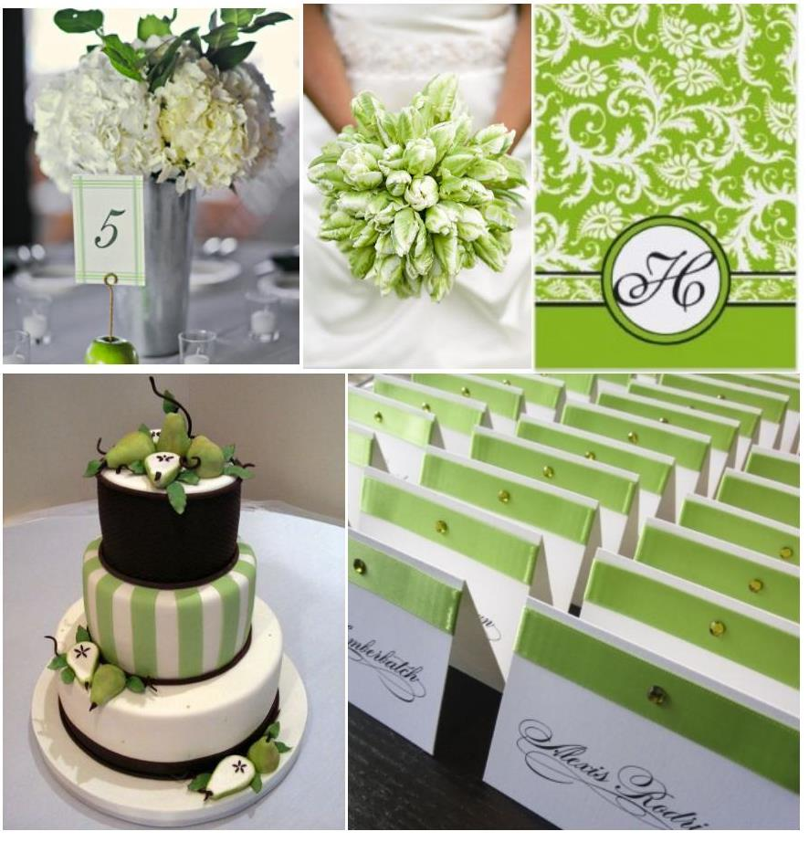 Black White Green Wedding