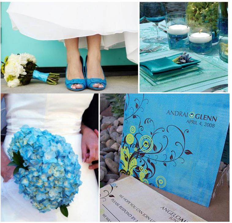 Even the wedding dress or the bouquet can be linked with the turquoise