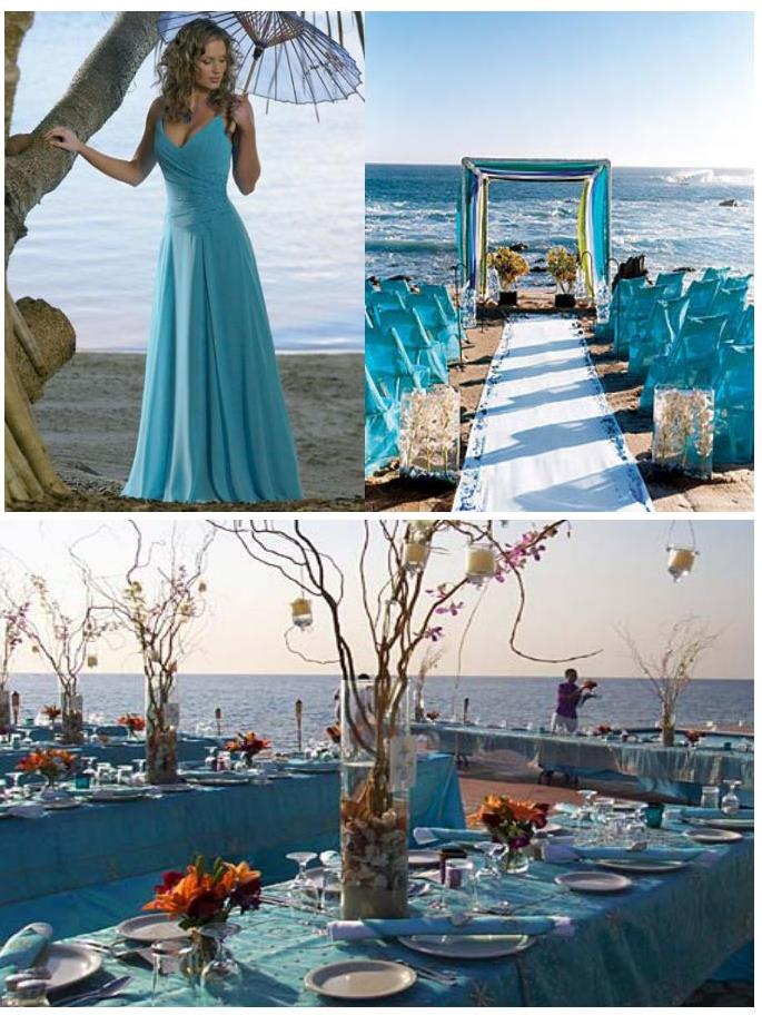 turquoise decoration for a wedding on the beach weddings