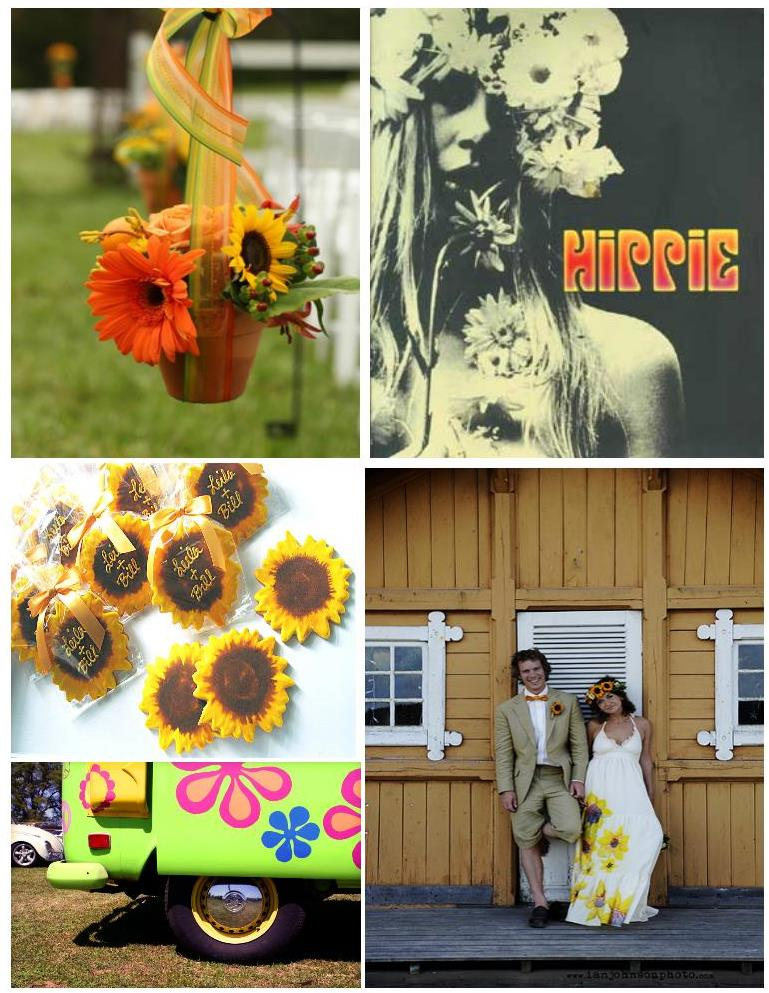 Sunflowers are also perfect for a hippie chic wedding