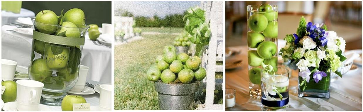 Apple wedding use fruits for your decoration weddings on the with an apple wedding decoration there are two main advantages the first one is that this kind of decoration will surprise your guests especially if there junglespirit Image collections