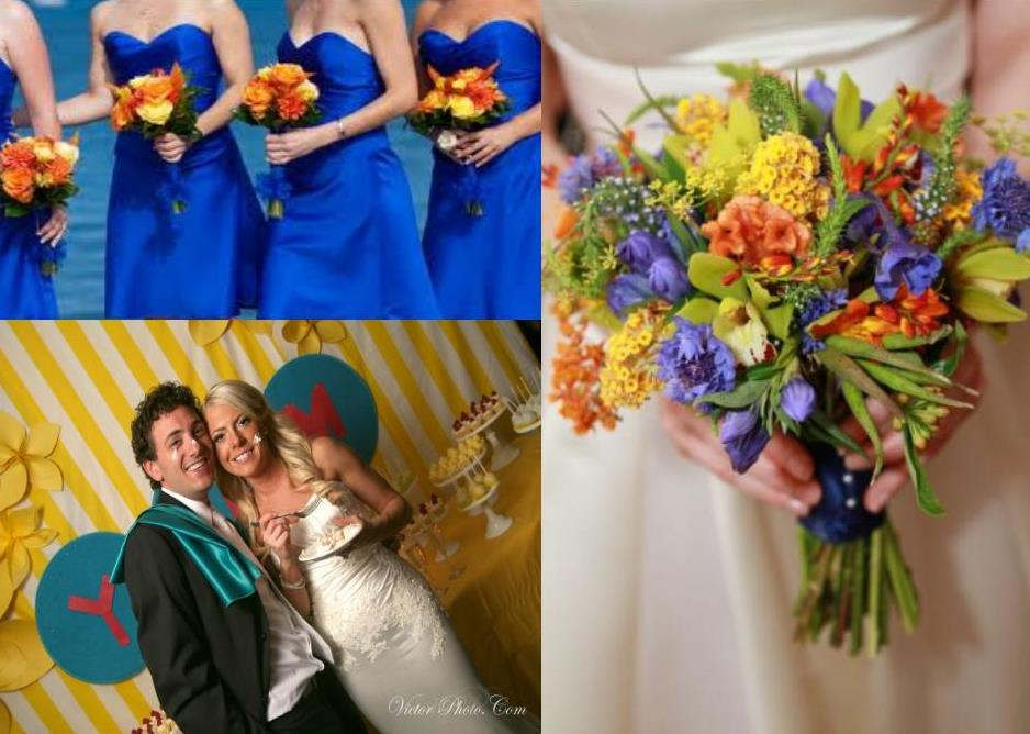 orange lime green and peacock blue wedding flower arrangements