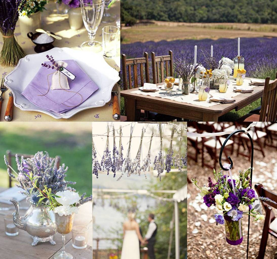 Mood board lavender wedding decoration weddings on the - Decoration champetre pour mariage ...