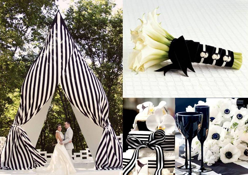 Very stylish black and white wedding decoration weddings - Decoration table noir et blanc ...