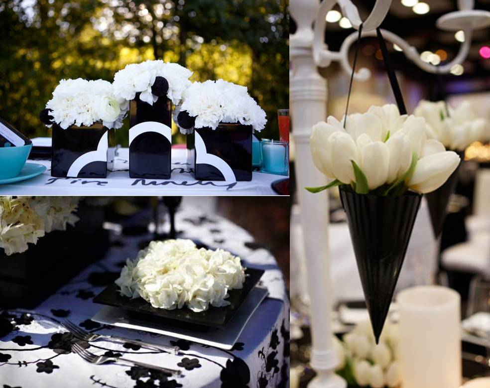 Table Decorations Black And White Theme Black And White Wedding Decoration Weddings On The Black And White