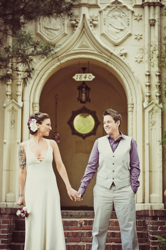 Inspiration for a lesbian wedding weddings on the french for Lesbian wedding dresses and suits
